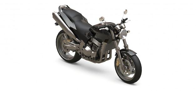 Черный городской спортивный двухместный мотоцикл на белом фоне