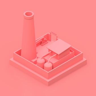 最小限のスタイルで等尺性漫画工場。ピンクの背景にピンクの建物