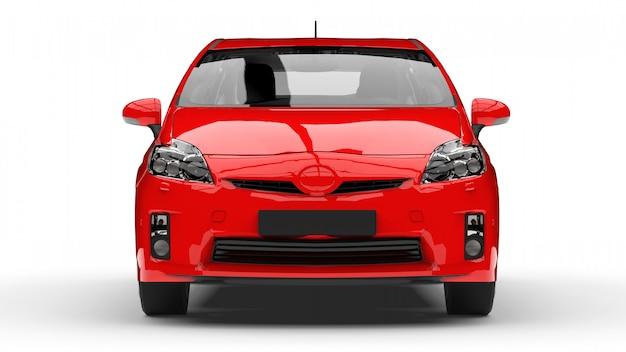 Современный семейный гибридный автомобиль красного цвета на белом фоне с тенью на земле