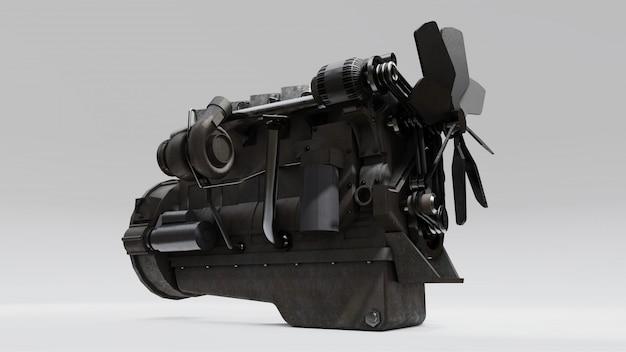 描かれたトラックの大きなディーゼルエンジン