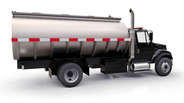 磨かれた金属製のトレーラーを備えた大型の黒いトラックタンカー。あらゆる側面からの眺め