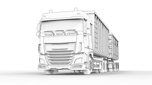 農業用および建築用バルク材料および製品の輸送用の、個別のトレーラーを備えた大型の白いトラック