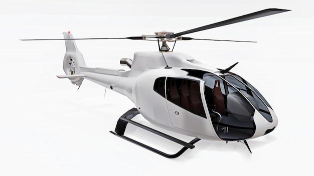 白い背景に分離された白いヘリコプター