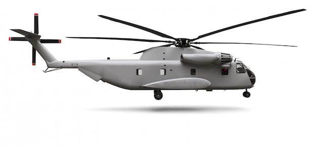 Военно-транспортный или спасательный вертолет на белом фоне