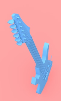 ピンクの背景に最小限のスタイルで青いエレクトリックギター