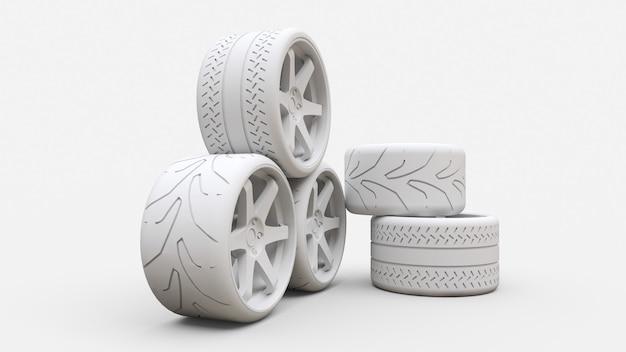 多くのスポーツカーの車輪が一緒に立っています。最小限のスタイルのインストール