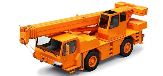 Оранжевый мобильный кран. трехмерная иллюстрация