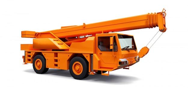 オレンジの移動式クレーン。立体イラストレーション