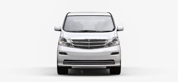人の輸送用の白い小さなミニバン。光沢のある白い背景の立体イラストレーション