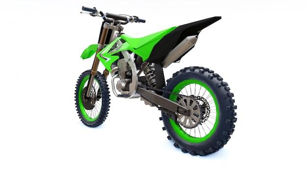 Зеленый и черный спортивный велосипед для беговых на белом фоне. гоночный спортбайк. современный суперкросс мотокросс байк