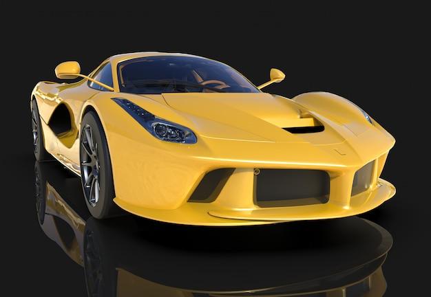スポーツカー。黒の背景に黄色のスポーツカーのイメージ
