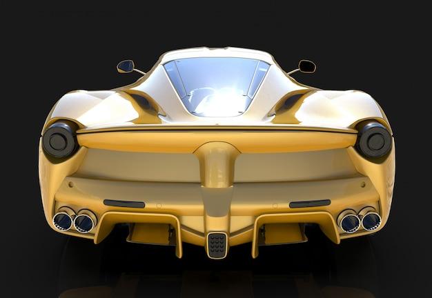 Спортивная машина. образ спортивного желтого автомобиля на черном фоне