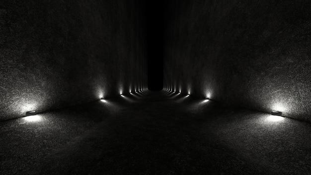 コンクリートの壁と柔らかい拡散光を上下に広げる壁のランプのある空きスペース