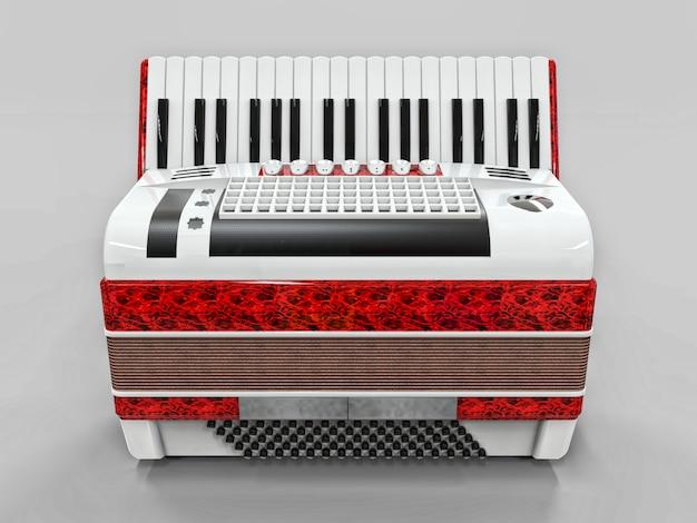 Красный и белый аккордеон на серой изолированной поверхности