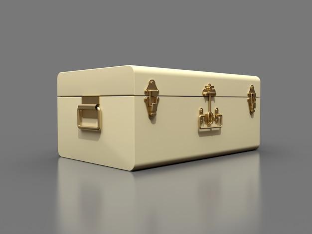 絶妙な留め金が付いたアイボリーの白い革のスーツケース。何世紀も昔の伝統を持つクラシックなプレミアムデザイン。ビンテージスタイルのモダンな新製品