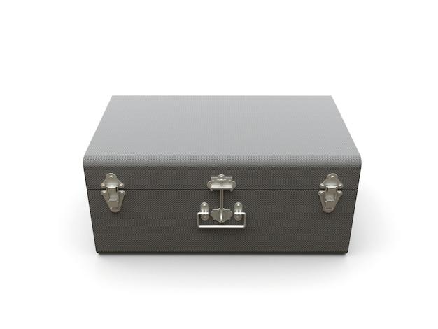 絶妙な留め金が付いたグレーのレザースーツケース。何世紀も昔の伝統を持つクラシックなプレミアムデザイン。ビンテージスタイルのモダンな新製品