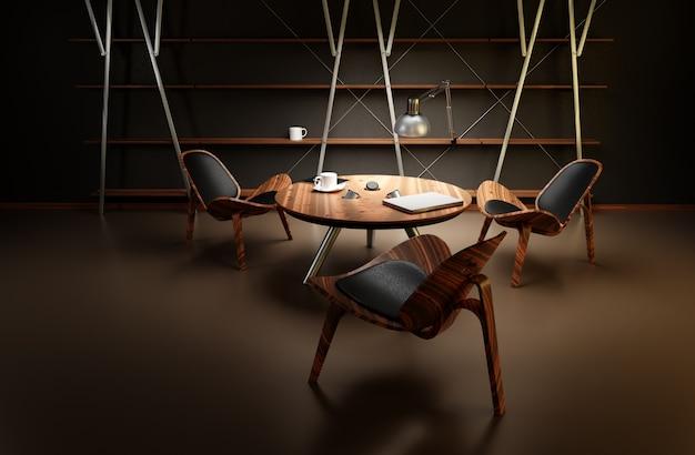 Интерьер плохо освещенной комнаты с тремя стульями и столом выполнен в современном деловом стиле.