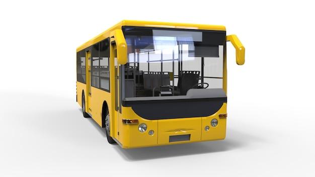 白い表面に小さな都市の黄色いバス