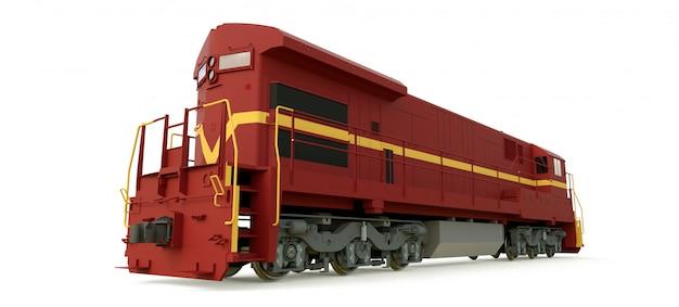 Современный дизельный железнодорожный локомотив с большой мощностью и силой для перемещения длинных и тяжелых поездов