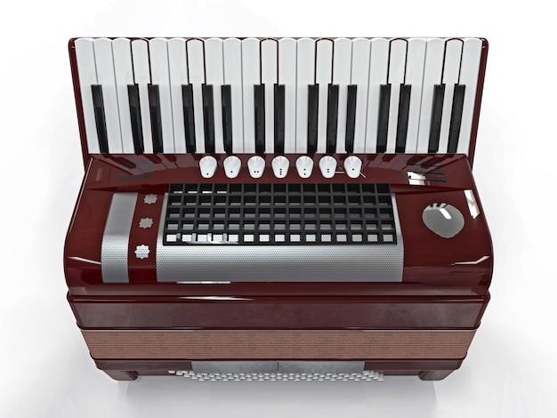 Бургундский аккордеон на белой изолированной поверхности