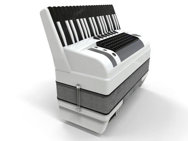 Черно-белый аккордеон на серой изолированной поверхности