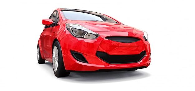 Красный городской автомобиль с пустой поверхностью для вашего креативного дизайна
