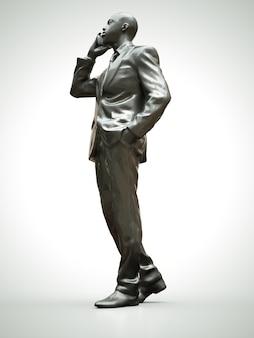 電話で話しているスーツの黒人男性のプラスチック図