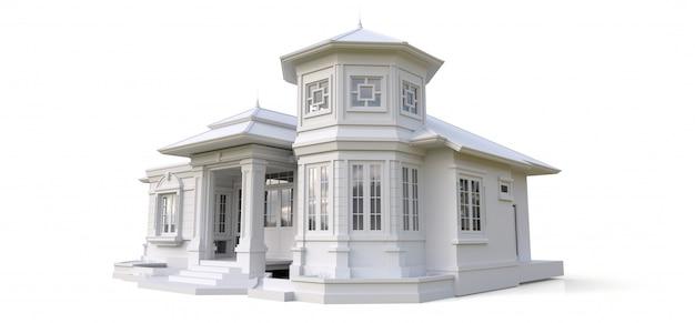 ビクトリア朝様式の古い家。白い表面の図。異なる側面からの種
