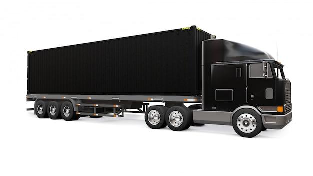Большой черный ретро грузовик со спальной частью и аэродинамическим удлинителем несет трейлер с морским контейнером