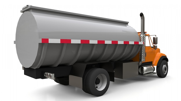 洗練された金属製のトレーラーが付いたオレンジ色の大型トラックタンカー。あらゆる側面からの眺め