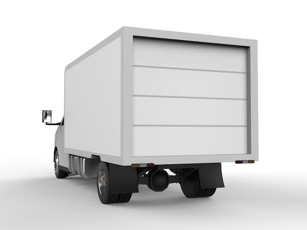 小さな白いトラック。車の配達サービス。小売店への商品および製品の配送
