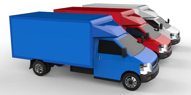 小さな白、赤、青のトラック。車の配達サービス。小売店への商品および製品の配送