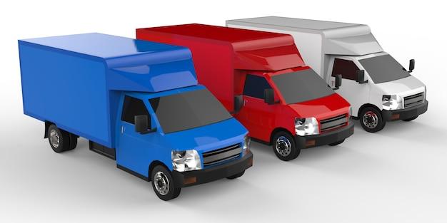 Маленький белый, красный, синий грузовик. служба доставки автомобилей. доставка товаров и продуктов в торговые точки