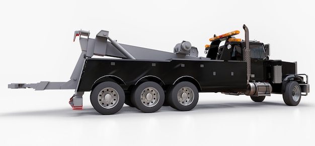 Черный грузовой эвакуатор для перевозки других больших грузовиков или различной тяжелой техники