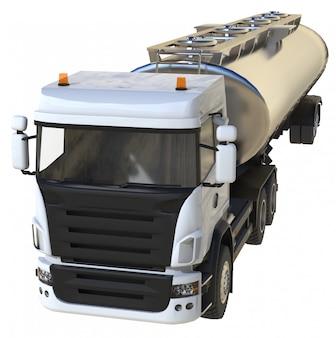 磨かれた金属製のトレーラーを備えた大型の白いトラックタンカー。あらゆる側面からの眺め