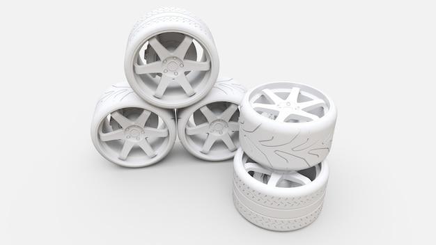 Многие колеса спортивных автомобилей стоят вместе. минимальная установка стиля