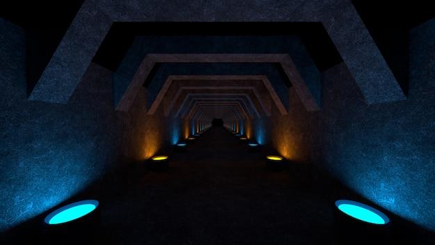 コンクリートの壁と柔らかい拡散光を広げる壁のランプのある空きスペース