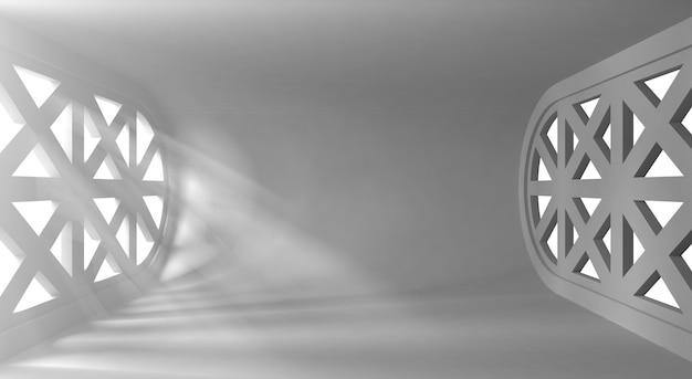 あなたのオブジェクトの窓からの光線と超近代的な概念的な空のインテリア