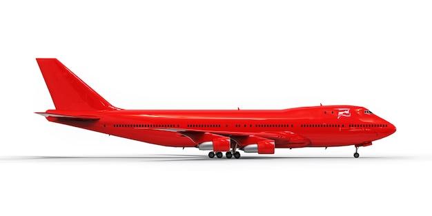 大西洋を横断する大容量の大型旅客機。白い分離面に赤い飛行機