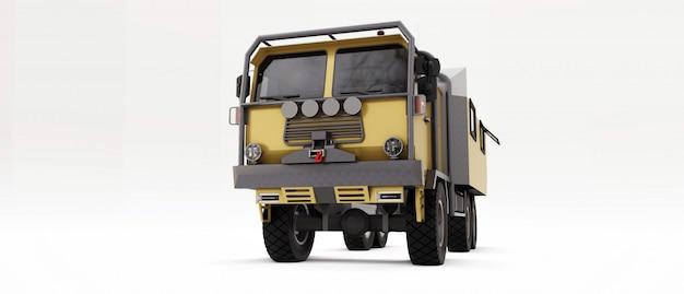 遠隔地での長く困難な遠征に備える大型トラック。車輪の上の家のトラック