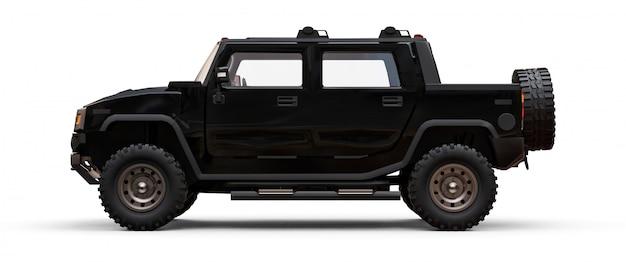 田舎や遠征用の大型の黒いオフロードピックアップトラック