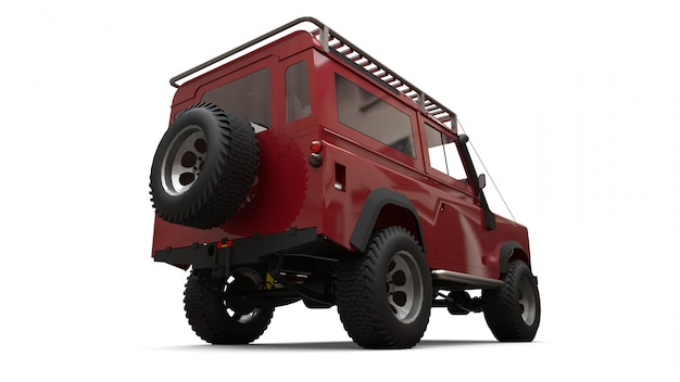 Красный старый маленький внедорожник настроен на сложные маршруты и экспедиции