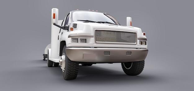 レーシングボートを輸送するためのトレーラー付きの白いトラック