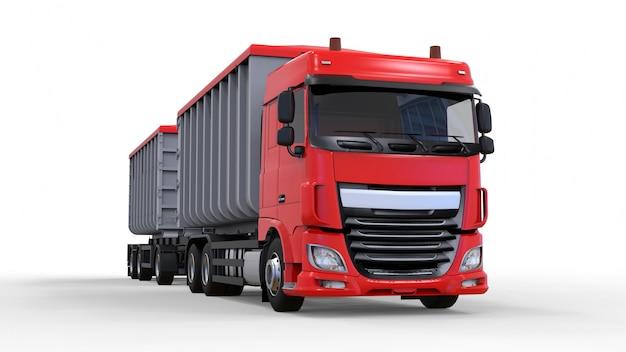 農業用および建築用バルク材料および製品の輸送用の、個別のトレーラーを備えた大型の赤いトラック