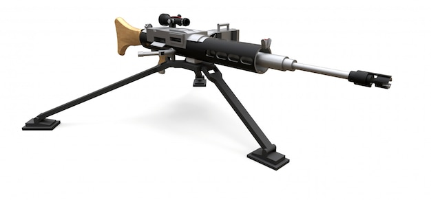 Большой пулемет на штативе с полной кассетой боеприпасов