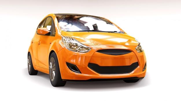 Оранжевый городской автомобиль с блестящей поверхностью