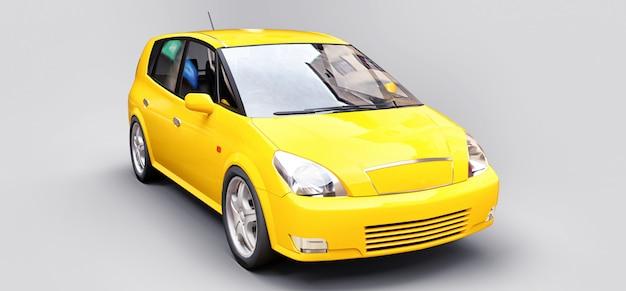 Желтый городской автомобиль с блестящей поверхностью