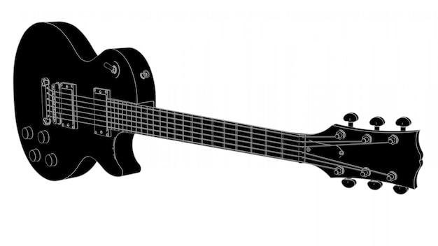 灰色の線と黒のエレクトリックギター