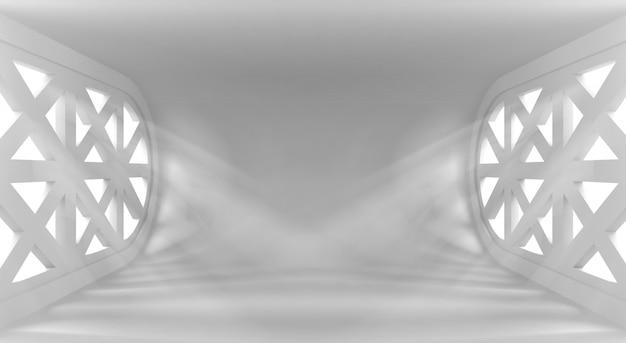 窓からの光線と超近代的な概念的な空のインテリア