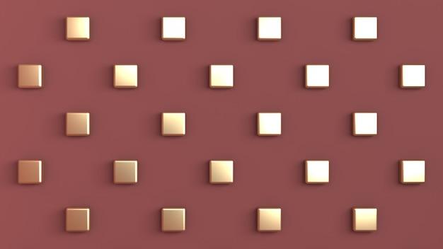 後部壁に市松模様に配置されたゴールドキューブと赤茶色の色